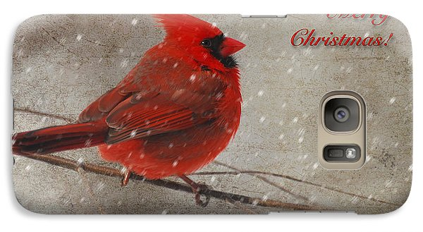 Red Bird In Snow Christmas Card Galaxy Case by Lois Bryan