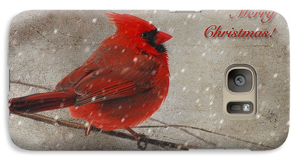 Red Bird In Snow Christmas Card Galaxy S7 Case by Lois Bryan