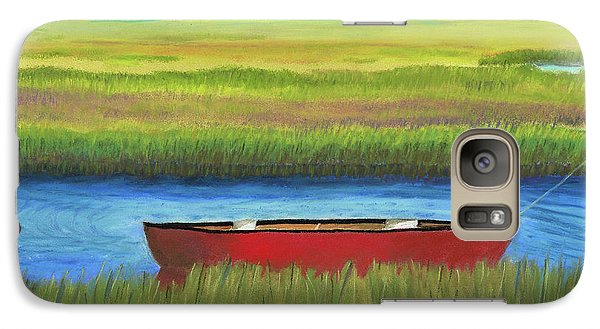 Galaxy Case featuring the painting Red Boat - Assateague Channel by Arlene Crafton