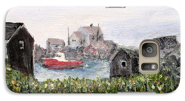 Galaxy Case featuring the painting Red Boat In Peggys Cove Nova Scotia  by Ian  MacDonald
