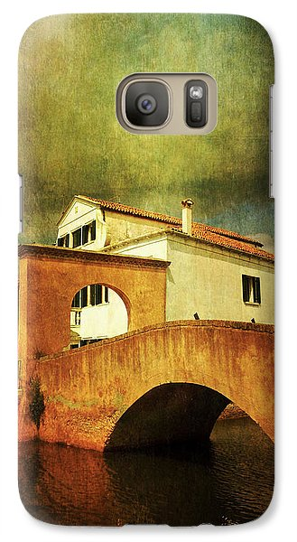 Galaxy Case featuring the photograph Red Bridge With Storm Cloud by Anne Kotan