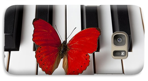 Butterfly Galaxy S7 Case - Red Butterfly On Piano Keys by Garry Gay