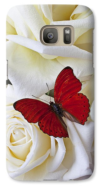 Red Butterfly On White Roses Galaxy S7 Case