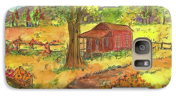 Galaxy Case featuring the painting Red Cabin In Autumn  by Cathie Richardson