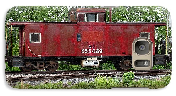 Galaxy Case featuring the photograph Red Caboose In The Rain by J R Seymour