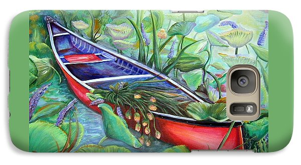 Galaxy Case featuring the painting Red Canoe by Patricia Piffath