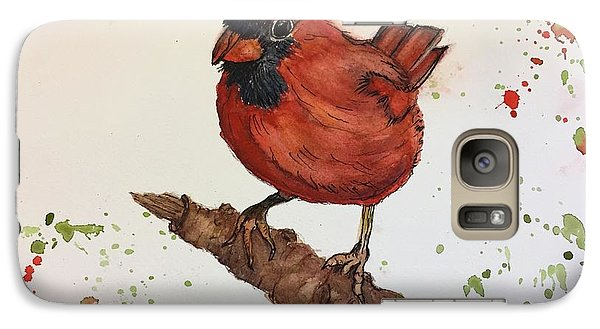 Galaxy Case featuring the painting Red Cardinal by Lucia Grilletto