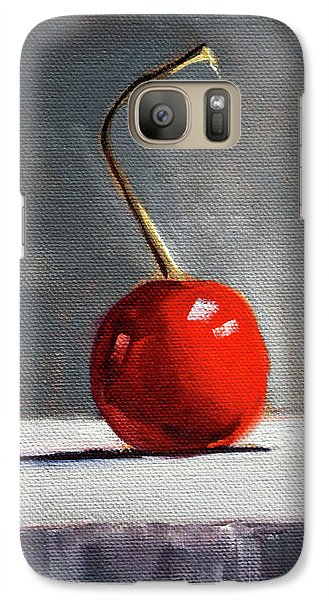 Galaxy Case featuring the painting Red Cherry by Nancy Merkle