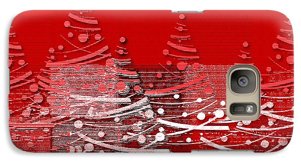 Galaxy Case featuring the digital art Red Christmas Trees by Aimelle