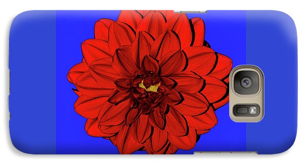 Red Dahlia On Blue By Kaye Menner Galaxy S7 Case by Kaye Menner