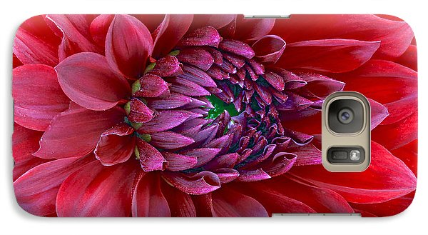 Galaxy Case featuring the photograph Red Dalia Up Close by James Steele