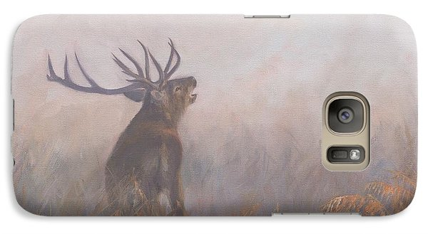 Galaxy Case featuring the painting Red Deer Stag Early Morning by David Stribbling