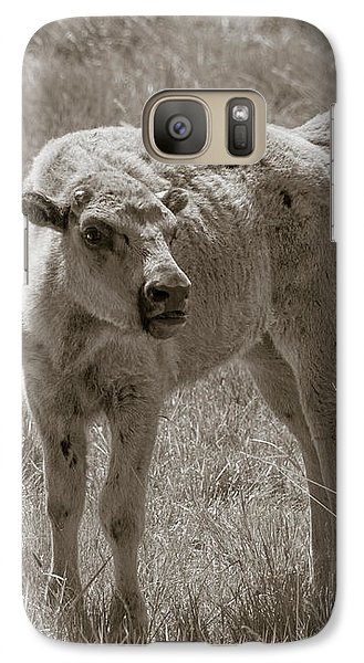 Galaxy Case featuring the photograph Red Dog Buffalo Calf by Rebecca Margraf