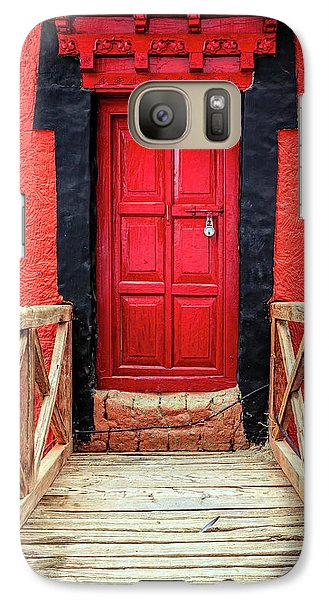 Galaxy Case featuring the photograph Red Door At A Monastery by Alexey Stiop