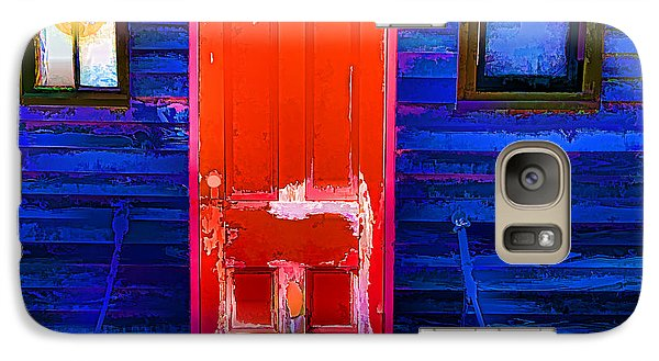 Galaxy Case featuring the photograph Red Door Harbor by Rick Bragan
