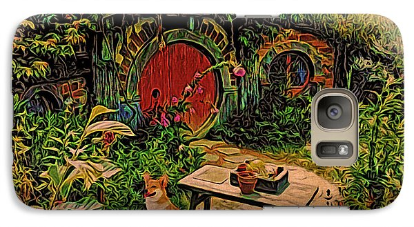 Galaxy Case featuring the digital art Red Door Hobbit House With Corgi by Kathy Kelly