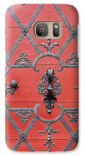 Galaxy Case featuring the photograph Red Door In Prague - Czech Republic by Melanie Alexandra Price