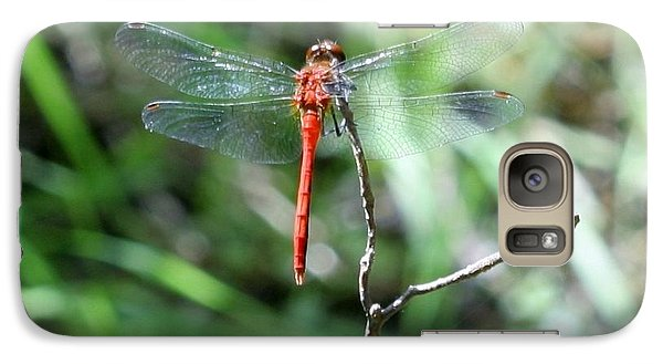 Galaxy Case featuring the photograph Red Dragonfly by Karen Silvestri