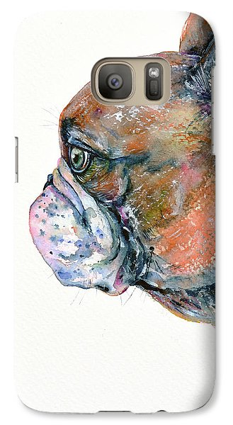 Galaxy Case featuring the painting Red Fawn Frenchie by Zaira Dzhaubaeva