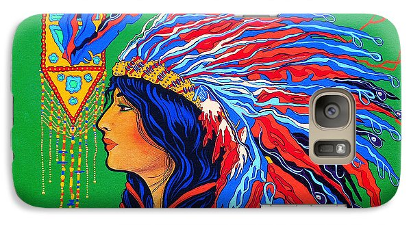 Galaxy Case featuring the painting Red Feathers by Debbie Chamberlin