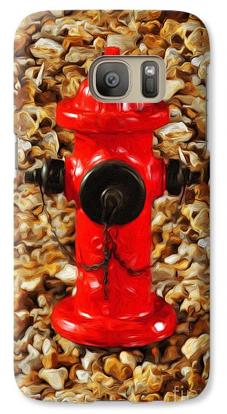 Galaxy Case featuring the photograph Red Fire Hydrant by Andee Design