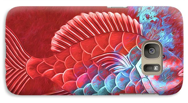 Galaxy Case featuring the photograph Red Fish Into The Blue by Carol Leigh