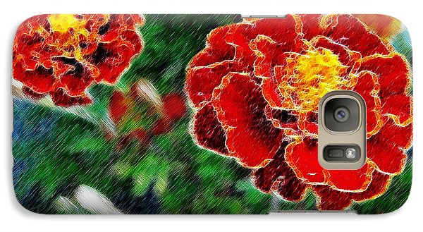 Galaxy Case featuring the photograph Red Flower In Autumn by Joan  Minchak