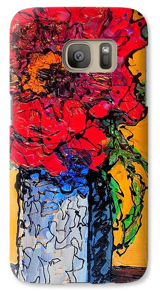 Galaxy Case featuring the painting Red Flower Square Vase by Laura  Grisham