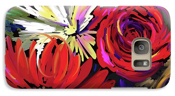 Galaxy Case featuring the painting Red Flowers by DC Langer