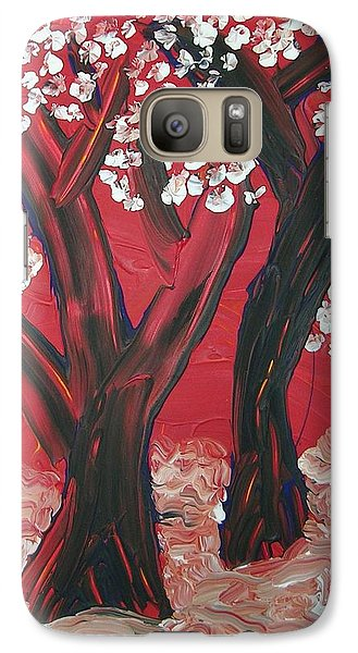 Galaxy Case featuring the painting Red Forest by Joshua Redman