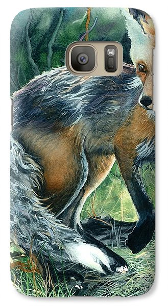 Galaxy Case featuring the painting Red Fox- Caught In The Moment by Barbara Jewell