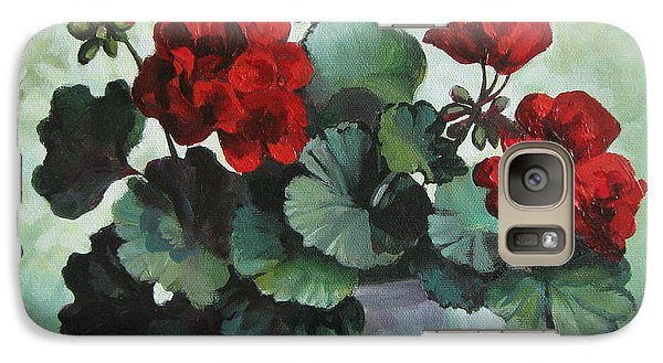 Galaxy Case featuring the painting Red Geranium by Elena Oleniuc