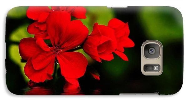 Red Geranium On Water Galaxy S7 Case