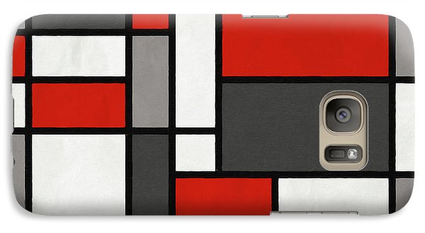 Galaxy Case featuring the digital art Red Grey Black Mondrian Inspired by Michael Tompsett