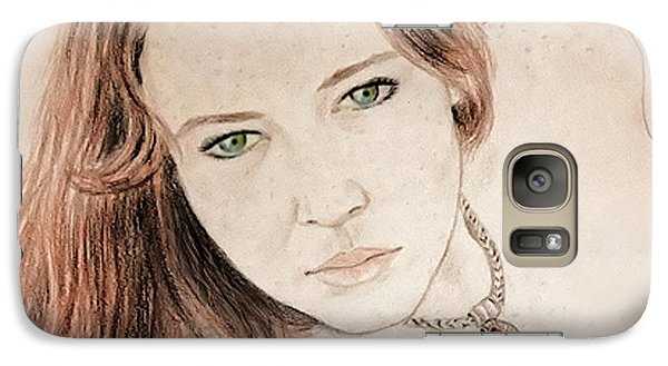 Galaxy Case featuring the drawing Red Hair And Freckled Beauty by Jim Fitzpatrick
