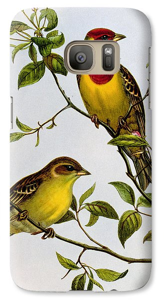 Red Headed Bunting Galaxy Case by John Gould