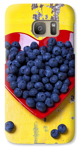 Red Heart Plate With Blueberries Galaxy Case by Garry Gay