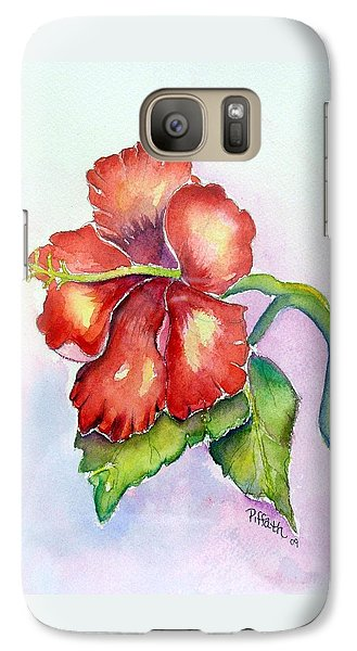 Galaxy Case featuring the painting Red Hibiscus by Patricia Piffath