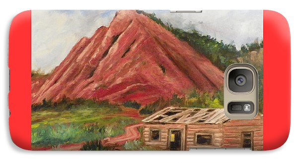 Galaxy Case featuring the painting Red Hill And Cabin by Sherril Porter