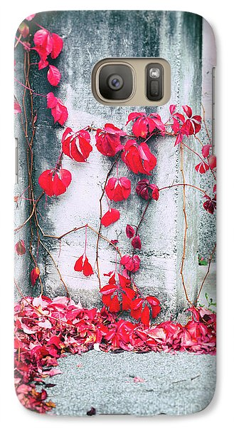 Galaxy Case featuring the photograph Red Ivy Leaves by Silvia Ganora