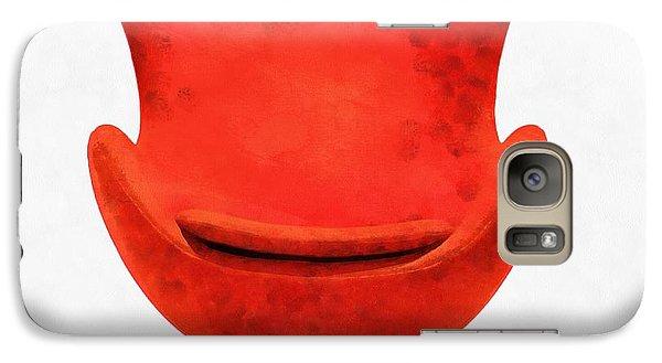 Red Mid Century Modern Chair Galaxy S7 Case by Edward Fielding