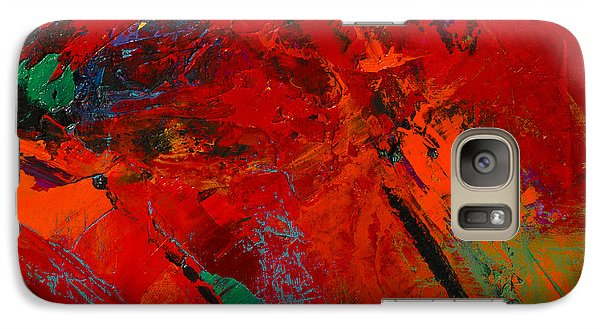 Galaxy Case featuring the painting Red Mood by Elise Palmigiani