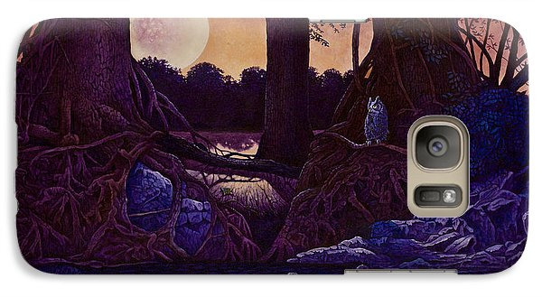 Galaxy Case featuring the painting Red Moon by Michael Frank