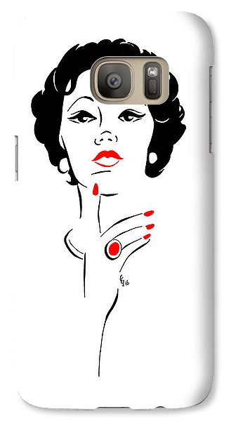 Galaxy Case featuring the digital art Red Nails Red Lips by Cindy Garber Iverson