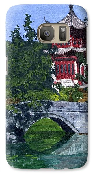 Galaxy Case featuring the painting Red Pagoda by Lynne Reichhart