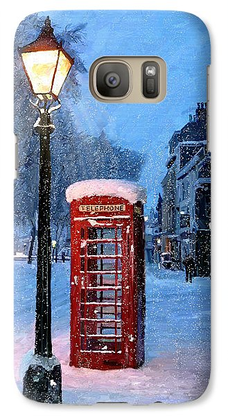Galaxy Case featuring the painting Red Phone Box by James Shepherd