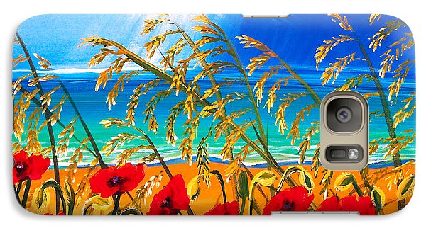 Galaxy Case featuring the painting Red Poppies And Sea Oats By The Sea by Patricia L Davidson