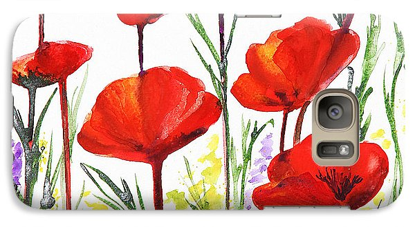 Galaxy Case featuring the painting Red Poppies Art By Irina Sztukowski by Irina Sztukowski