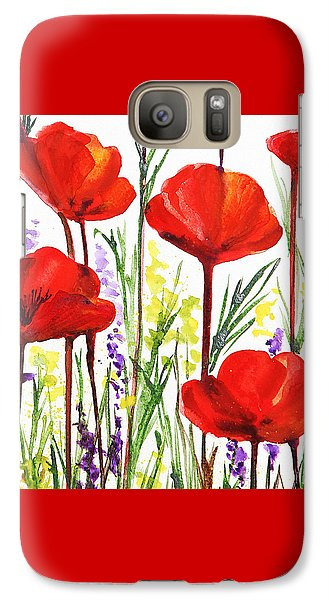 Galaxy Case featuring the painting Red Poppies Watercolor By Irina Sztukowski by Irina Sztukowski
