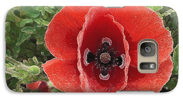 Galaxy Case featuring the photograph Red Poppy Flower 2 by Jean Bernard Roussilhe